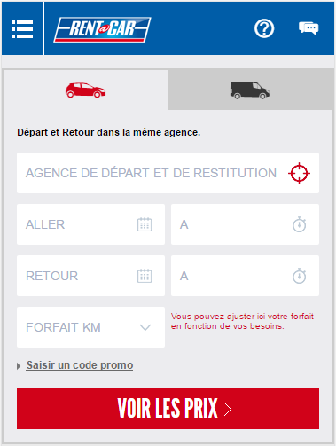 screenshot Rent A Car application mobile